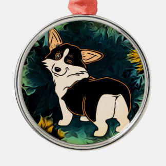 Winking Fall Corgi Metal Ornament