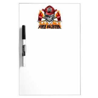 Winking Firefighter Skull and flaming Axes Dry-Erase Board