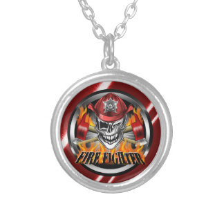 Winking Firefighter Skull and flaming Axes Silver Plated Necklace