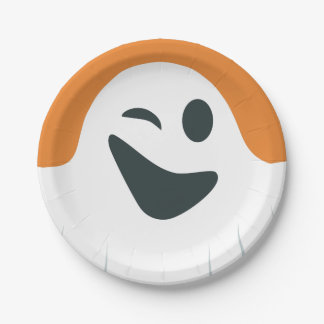 Winking Ghost Halloween Paper Plate