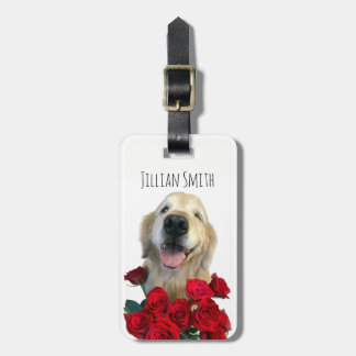 Winking Golden Retriever With Roses Personalized Luggage Tag