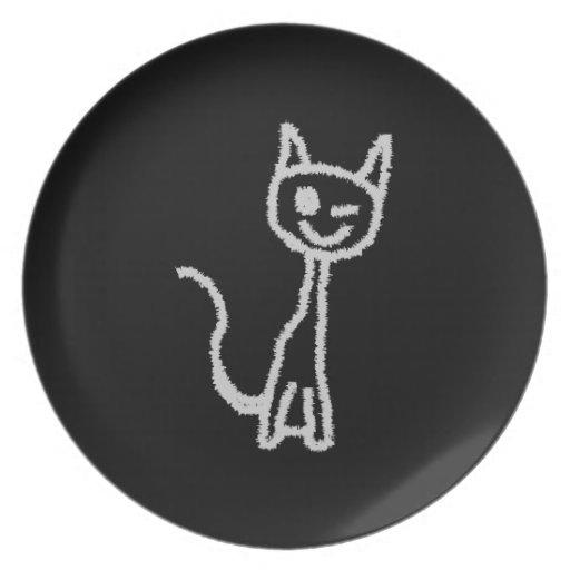 Winking Gray Cat. Plates