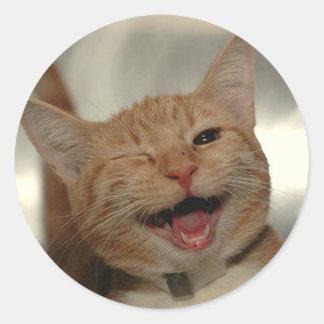Winking Happy Ginger Cat Round Sticker
