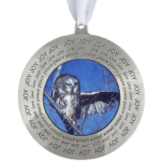 Winking owl round pewter christmas ornament