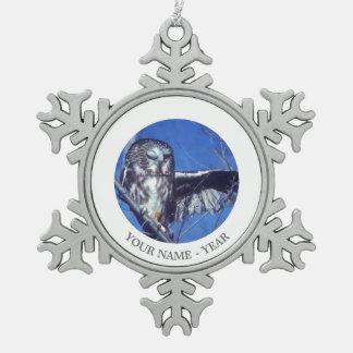 Winking owl pewter snowflake decoration