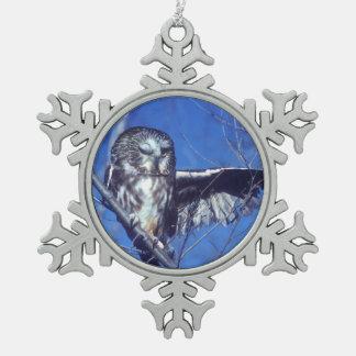 Winking owl snowflake pewter christmas ornament