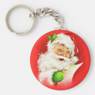 Winking Santa Claus Key Ring