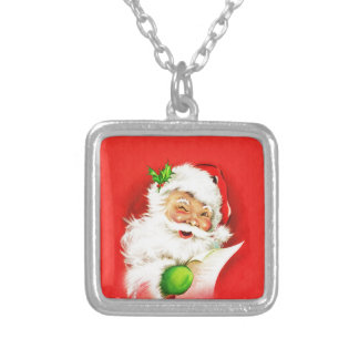 Winking Santa Claus Silver Plated Necklace