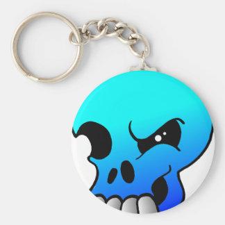 Winking Skull Devil Blue Keychain