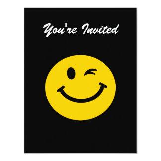 Winking smiley face 11 cm x 14 cm invitation card