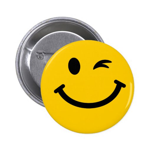 Winking smiley face pinback buttons