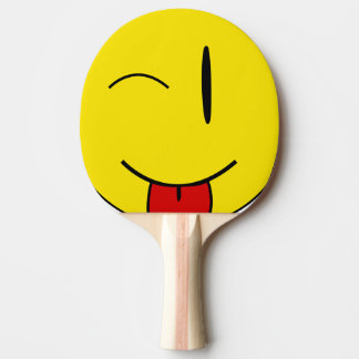 Winking smiling sticking tongue ping pong paddle