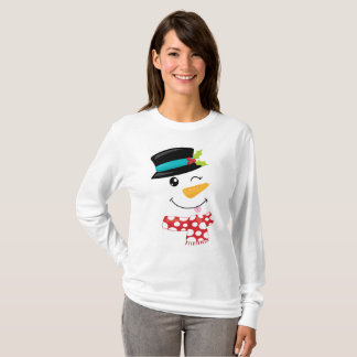 Winking Snowman T Shirt