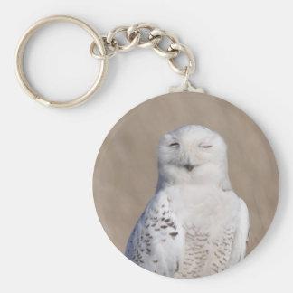 Winking Snowy Owl Basic Round Button Key Ring