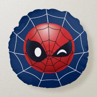 Winking Spider-Man Emoji Round Cushion