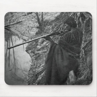 Winnebago Indian Chief Duck Hunting Grayscale Mouse Pad