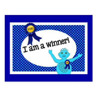 Winner Affirmations Blue Turquoise Polka Dots Postcard