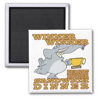 winner elephant peanut butter sandwich dinner square magnet