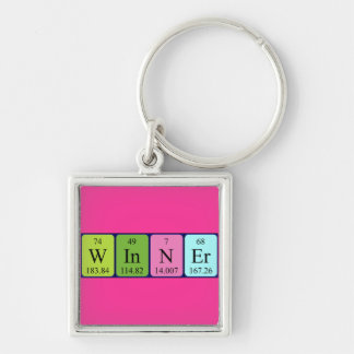 Winner periodic table name keyring Silver-Colored square key ring