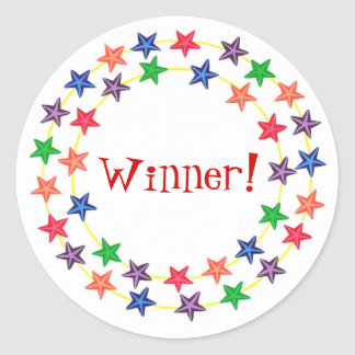 Winner!, stickers, with colorful stars round sticker