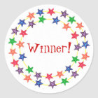 Winner!, stickers, with colourful stars classic round sticker