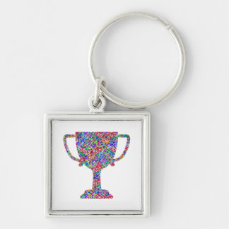 Winner Waves Winning Image Silver-Colored Square Key Ring