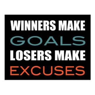 Winners Make Goals Loser Make Excuses Post Card