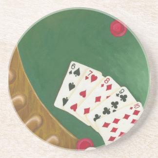 Winning Poker Hand Six Through Ten Drink Coasters