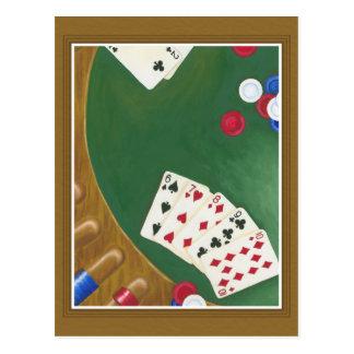 Winning Poker Hand Six Through Ten Postcards