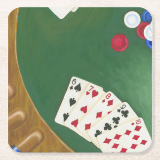 Winning Poker Hand Six Through Ten Square Paper Coaster