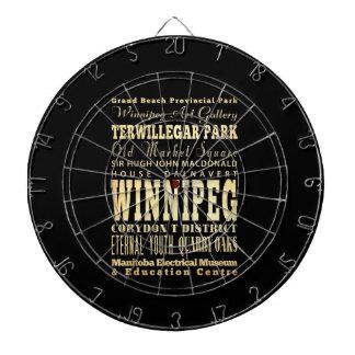 Winnipeg City of Canada Typography Art Dartboards