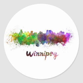 Winnipeg skyline in watercolor classic round sticker