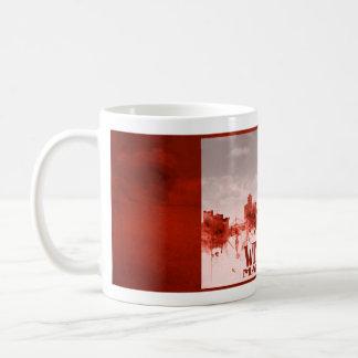 Winnipeg skyline with red grunge basic white mug