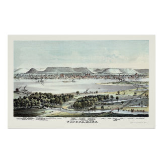 Winona, MN Panoramic Map - 1874 Poster