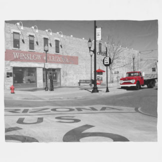 Winslow Arizona Red Splash Photograph Fleece Blanket