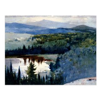 Winslow Homer art, Indian Village, Adirondacks Postcard
