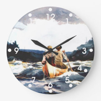 Winslow Homer: Canoe in the Rapids Large Clock