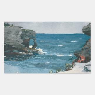 Winslow Homer - Rocky Shore, Bermuda Rectangular Sticker