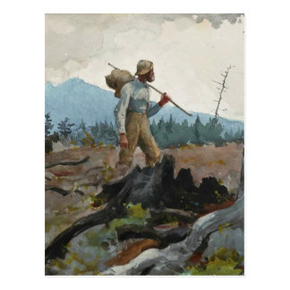 Winslow Homer Vintage Watercolor Guide Woodsman Postcard
