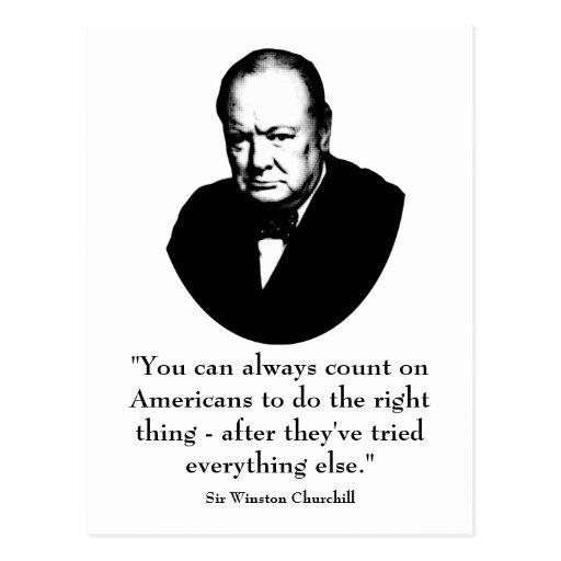 Winston Churchill Victory Quote: Winston Churchill And Funny Quote Postcard
