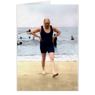 Winston Churchill at the seaside Card