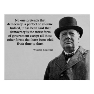 Winston Churchill Democracy Quote Poster
