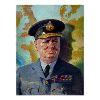 Winston Churchill In Uniform Painting Poster