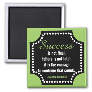 Winston Churchill Positive Attitude Quote Square Magnet