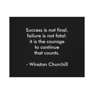 Winston Churchill Quote; Success Canvas Print