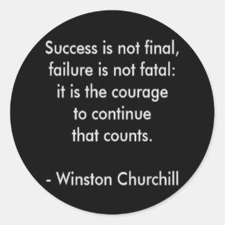 Winston Churchill Quote; Success Classic Round Sticker