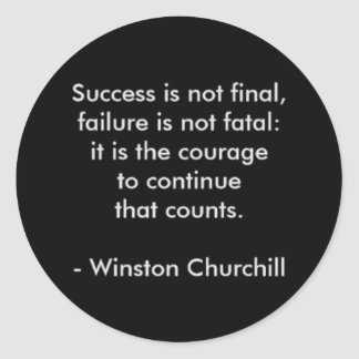 Winston Churchill Quote; Success Classic Round Sticker