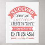 Winston Churchill quote success failure enthusiasm Print