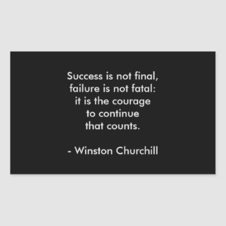 Winston Churchill Quote; Success Rectangular Sticker