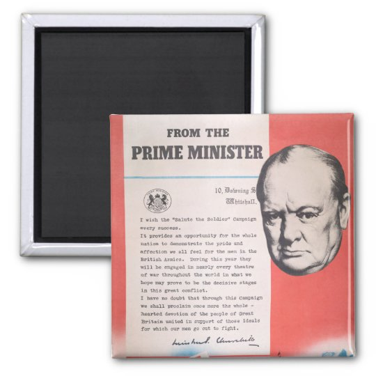 Winston Churchill, Reprint of British WW2 poster Magnet